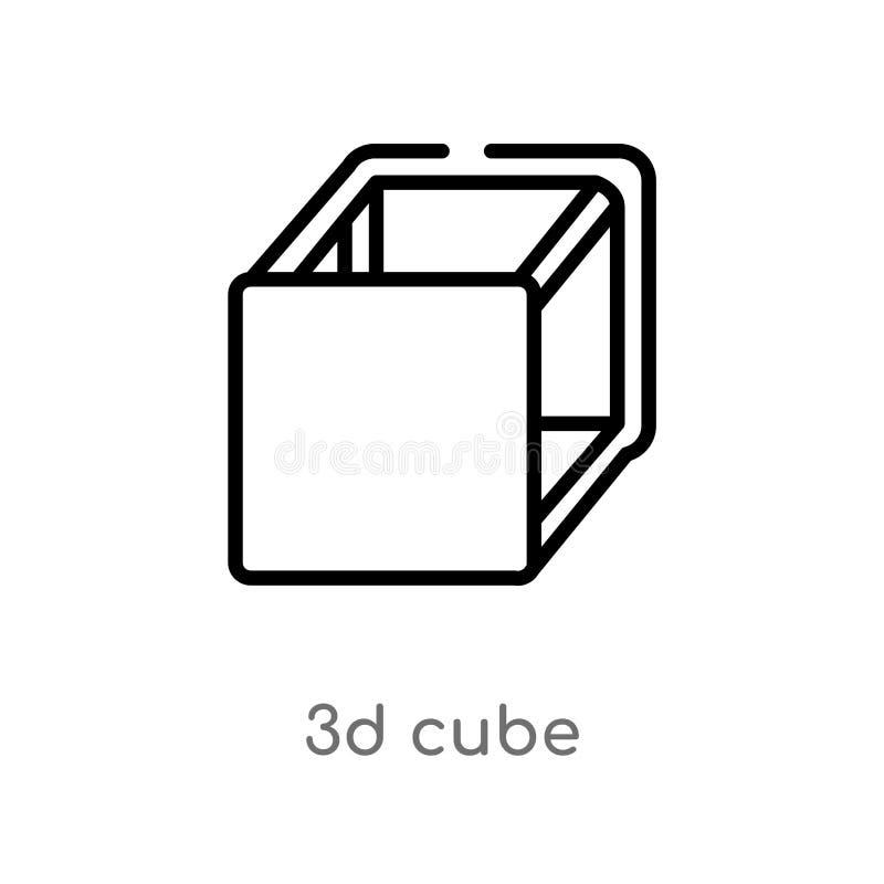 icona di vettore del cubo del profilo 3d linea semplice nera isolata illustrazione dell'elemento dal concetto della geometria cub royalty illustrazione gratis