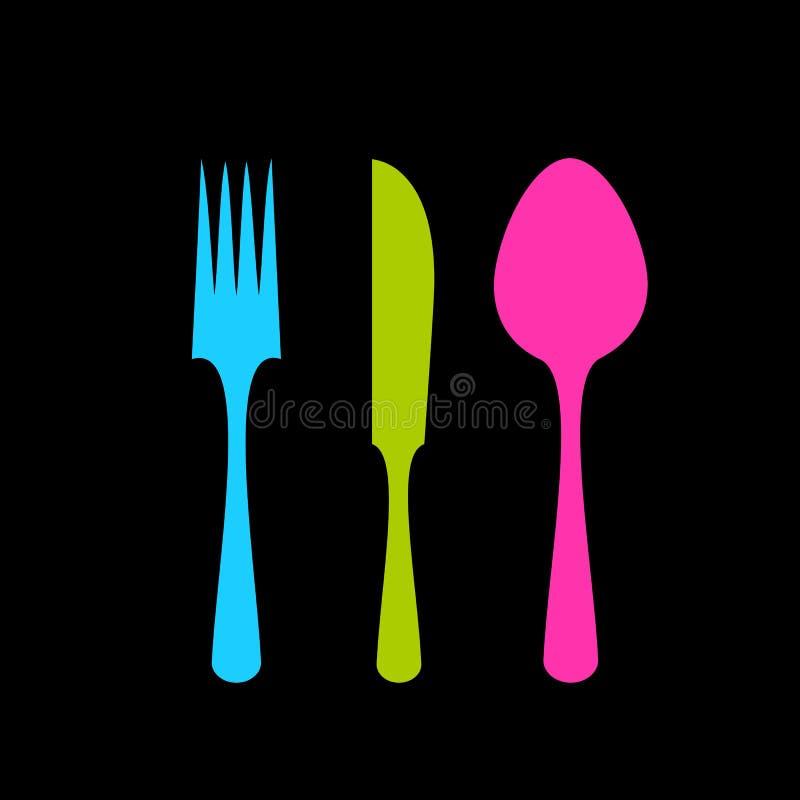 Icona di vettore del cucchiaio del coltello della forcella illustrazione vettoriale