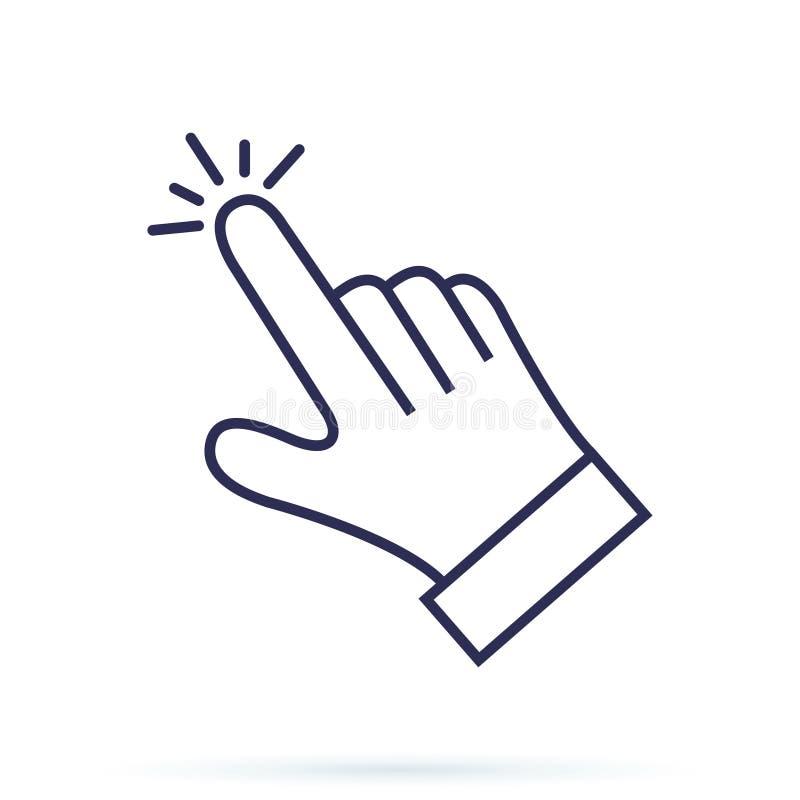Icona di vettore del cursore della mano, cliccante puntatore Cliccando concetto del dito per sottoscrivere, inviare o l'altro bot illustrazione vettoriale
