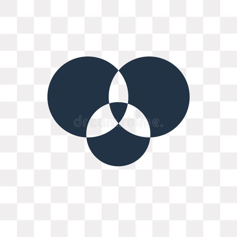 Icona di vettore del diagramma di Eulero-Venn isolata su fondo trasparente, Ven illustrazione vettoriale