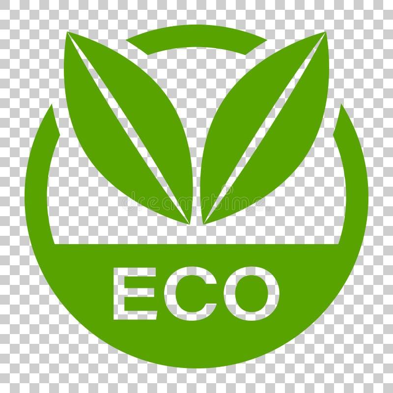 Icona di vettore del distintivo dell'etichetta di Eco nello stile piano Bollo del prodotto biologico illustrazione vettoriale