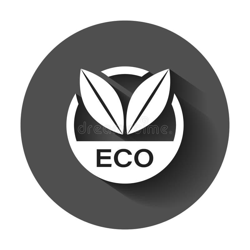 Icona di vettore del distintivo dell'etichetta di Eco nello stile piano Bollo del prodotto biologico illustrazione di stock