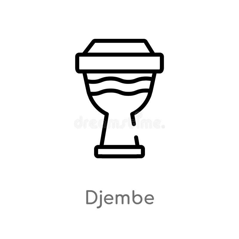 icona di vettore del djembe del profilo linea semplice nera isolata illustrazione dell'elemento dal concetto di musica icona edit royalty illustrazione gratis