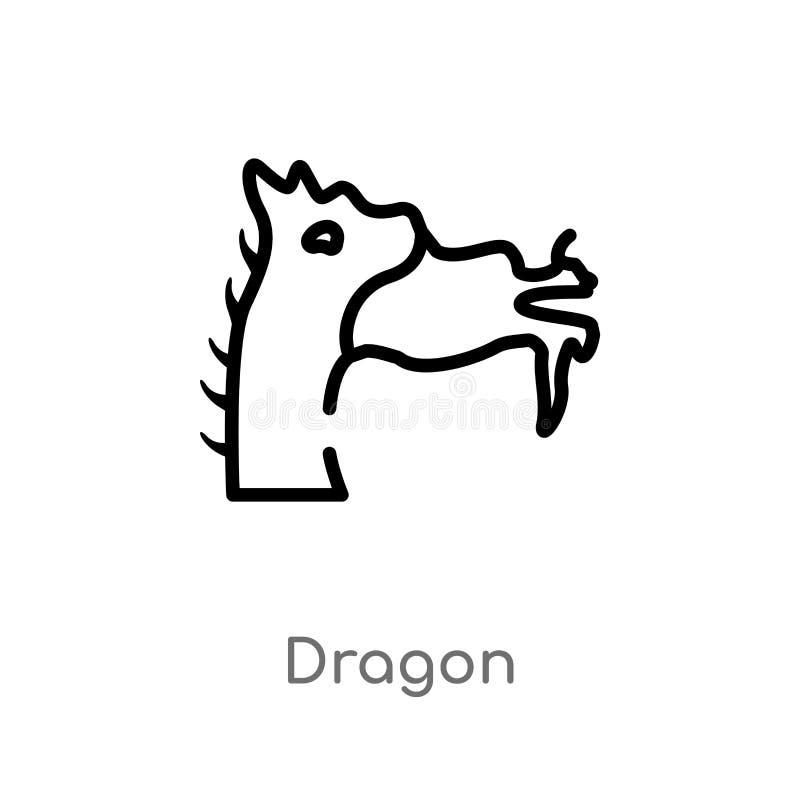 icona di vettore del drago del profilo linea semplice nera isolata illustrazione dell'elemento dal concetto asiatico icona editab illustrazione vettoriale