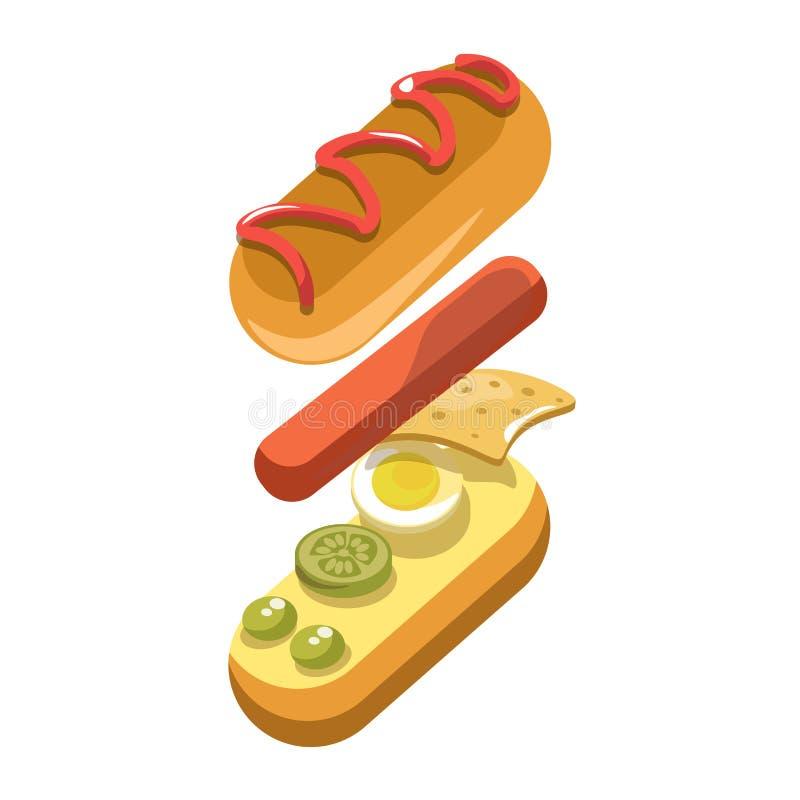 Icona di vettore del fast food del costruttore degli ingredienti del panino del hot dog royalty illustrazione gratis