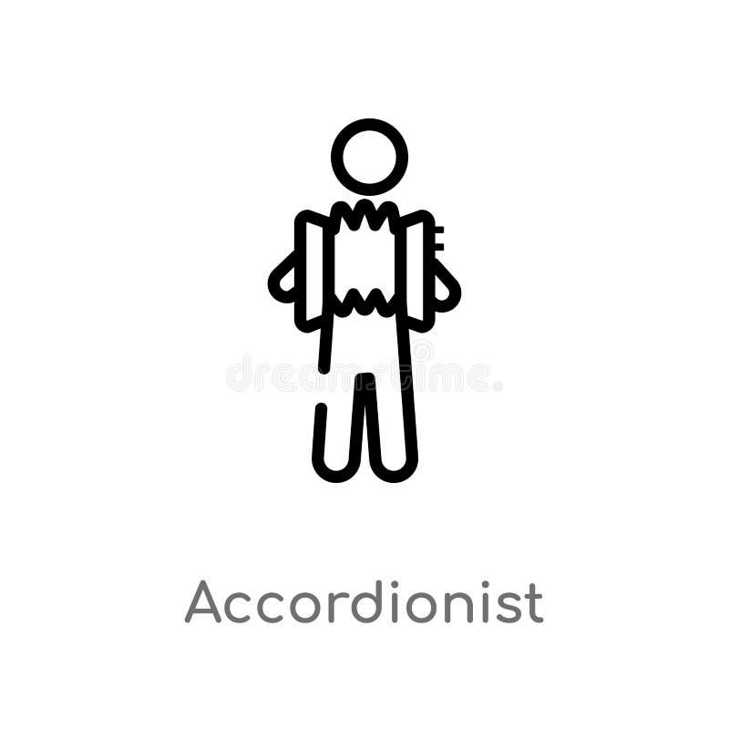 icona di vettore del fisarmonicista del profilo linea semplice nera isolata illustrazione dell'elemento dal concetto di musica Co illustrazione vettoriale