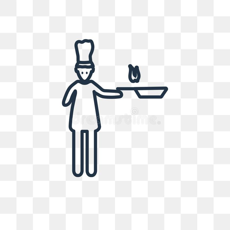 Icona di vettore del fornello della donna isolata su fondo trasparente, Lin illustrazione vettoriale