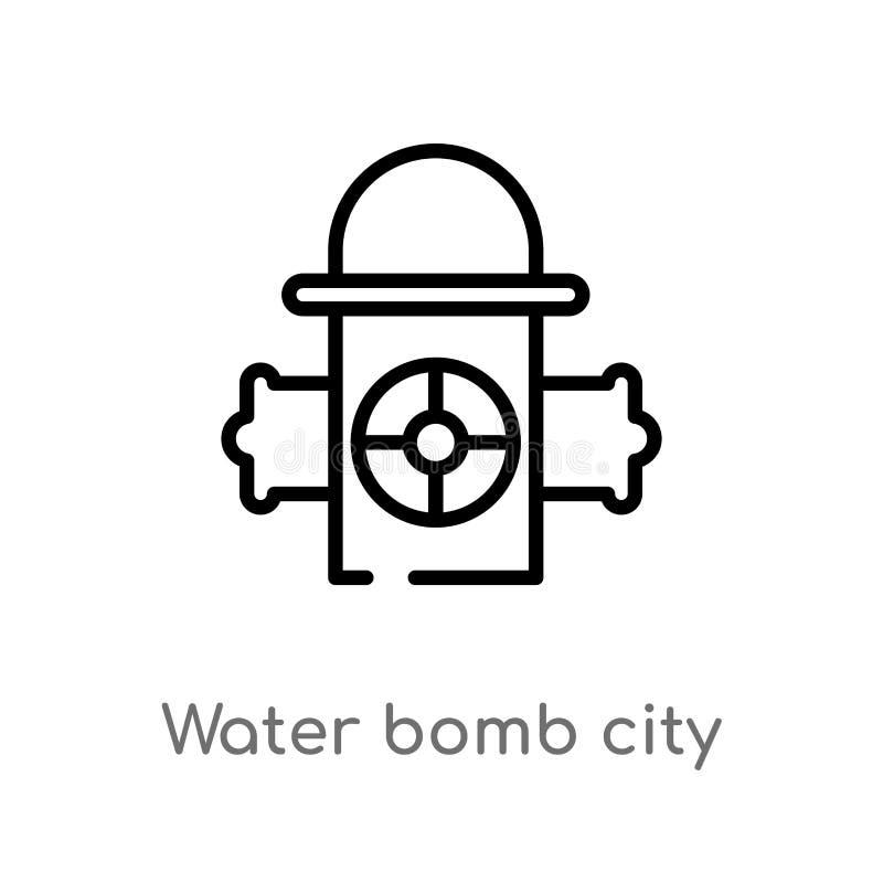 icona di vettore del fornitore della città della bomba dell'acqua del profilo illustrazione vettoriale