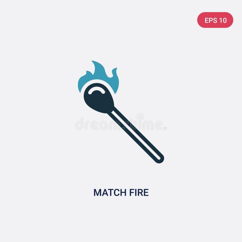 Icona di vettore del fuoco della partita di due colori dal concetto di sicurezza il simbolo blu isolato del segno di vettore del  royalty illustrazione gratis