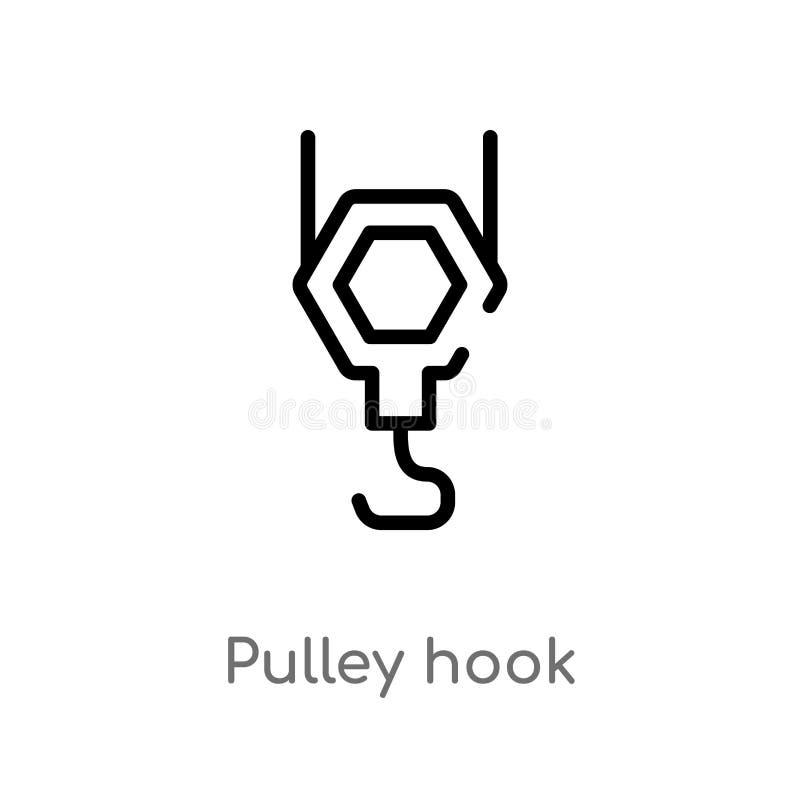 icona di vettore del gancio della puleggia del profilo linea semplice nera isolata illustrazione dell'elemento dal concetto della royalty illustrazione gratis