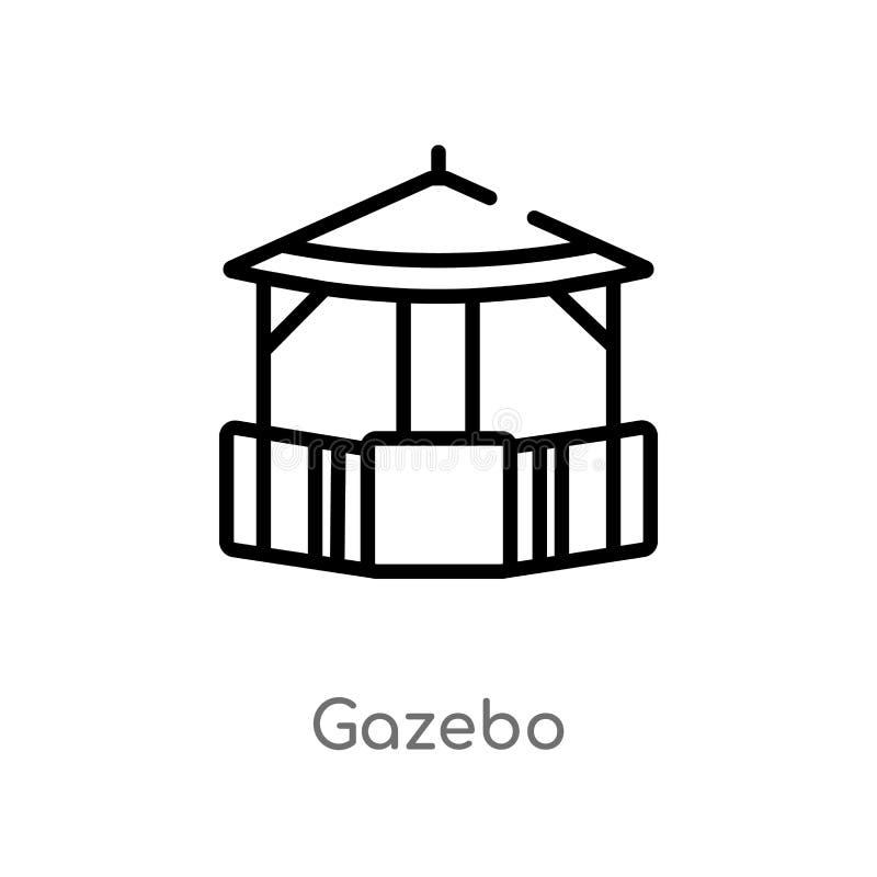 icona di vettore del gazebo del profilo linea semplice nera isolata illustrazione dell'elemento da architettura e dal concetto de illustrazione di stock