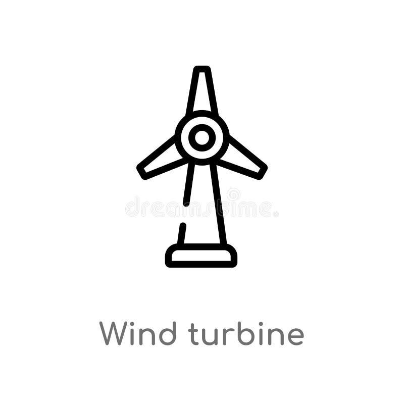 icona di vettore del generatore eolico del profilo linea semplice nera isolata illustrazione dell'elemento dal concetto di ecolog royalty illustrazione gratis