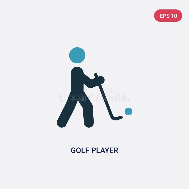 Icona di vettore del giocatore di golf di due colori dal concetto di sport il simbolo blu isolato del segno di vettore del giocat illustrazione vettoriale