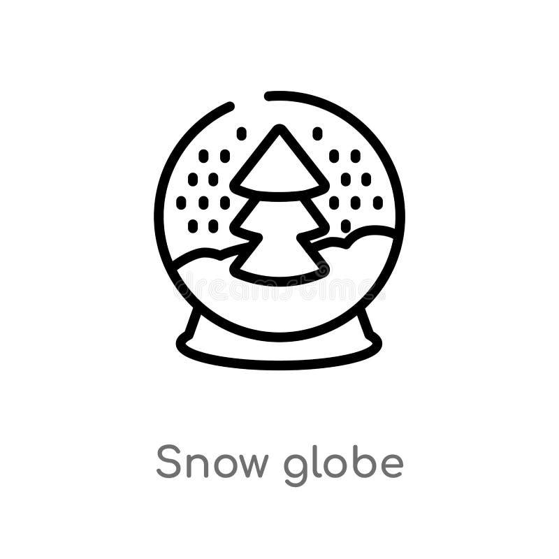icona di vettore del globo della neve del profilo linea semplice nera isolata illustrazione dell'elemento dal concetto di inverno royalty illustrazione gratis