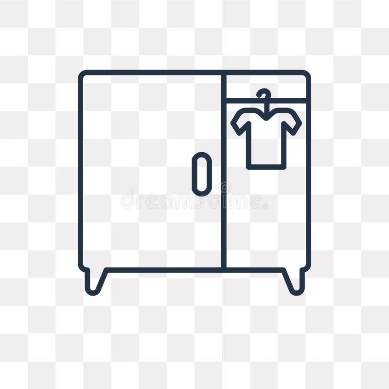 Icona di vettore del guardaroba isolata su fondo trasparente, lineare illustrazione di stock