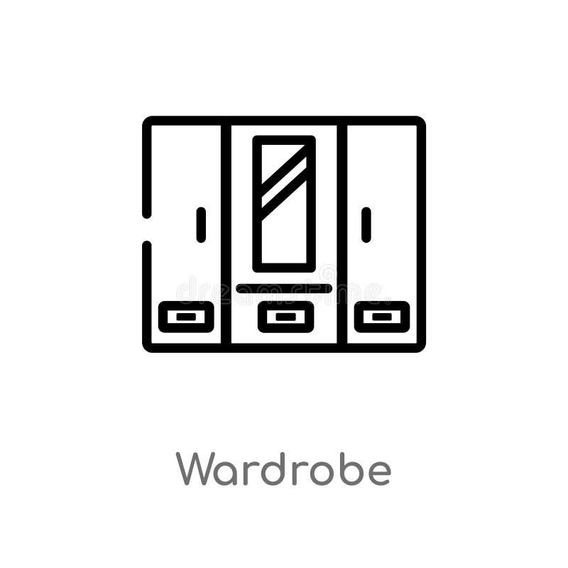icona di vettore del guardaroba del profilo linea semplice nera isolata illustrazione dell'elemento dal concetto della mobilia Co illustrazione di stock
