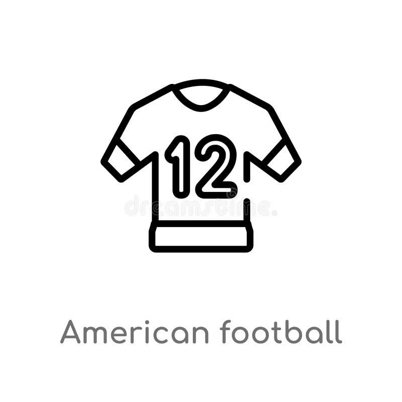 icona di vettore del jersey di football americano del profilo linea semplice nera isolata illustrazione dell'elemento dal concett illustrazione vettoriale