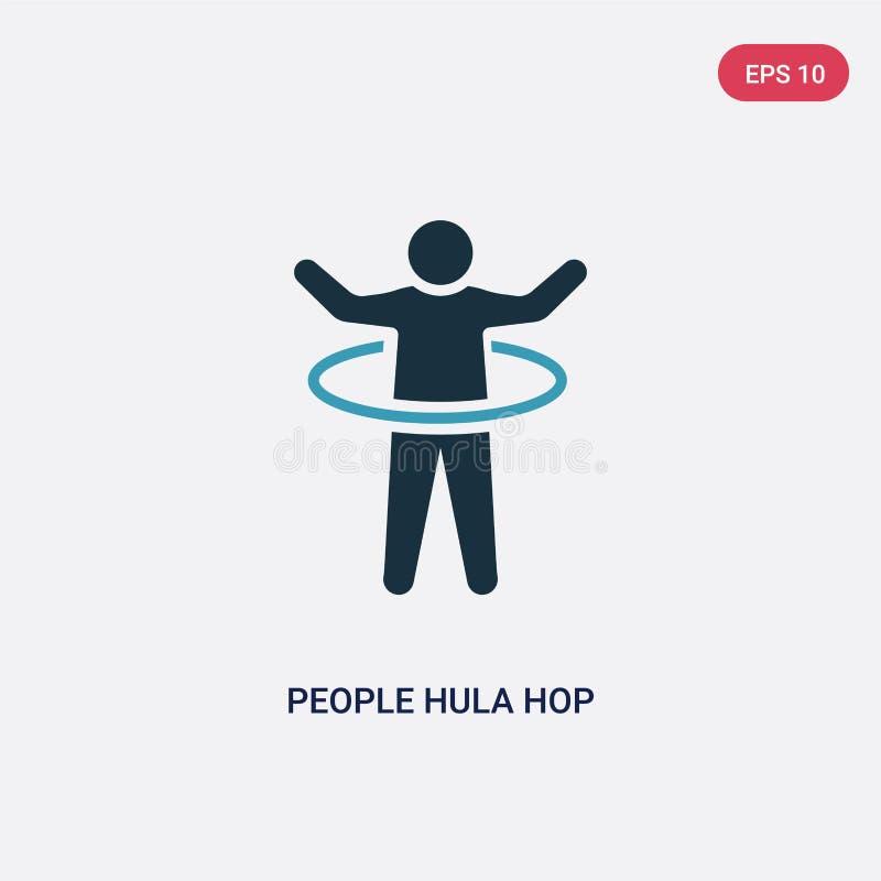 Icona di vettore del luppolo di hula di due genti di colore dal concetto ricreativo dei giochi il simbolo blu isolato del segno d illustrazione vettoriale