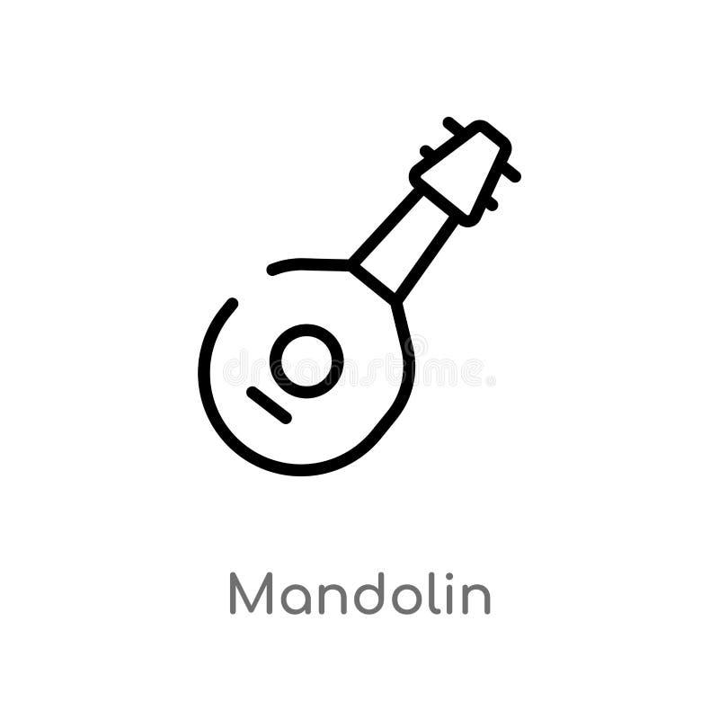 icona di vettore del mandolino del profilo linea semplice nera isolata illustrazione dell'elemento dal concetto di musica mandoli illustrazione vettoriale