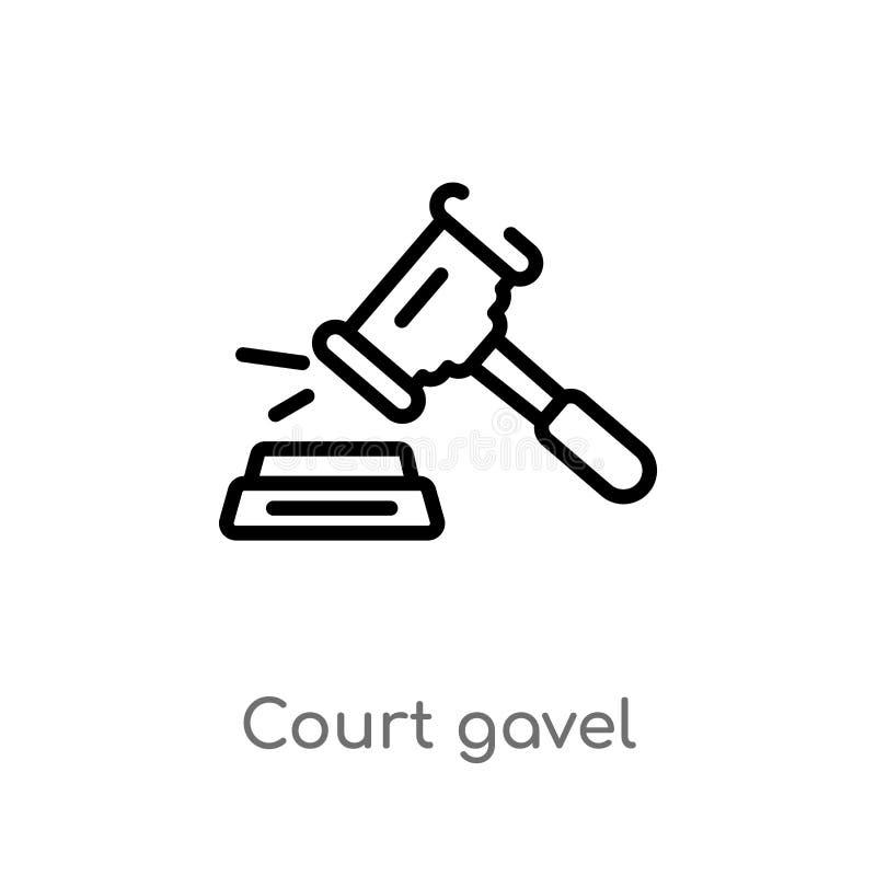 icona di vettore del martelletto della corte del profilo linea semplice nera isolata illustrazione dell'elemento dal concetto di  illustrazione di stock