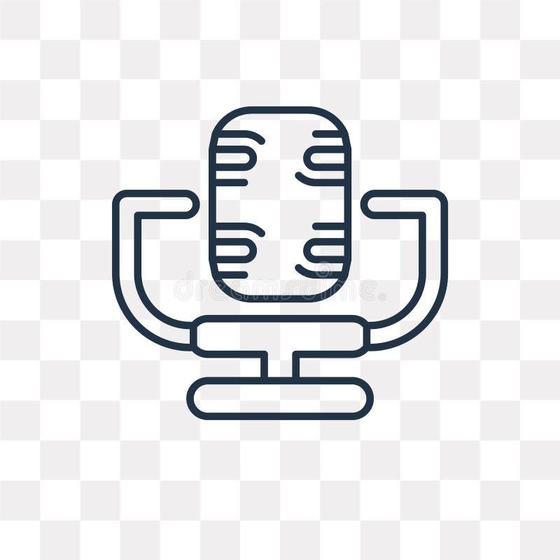 Icona di vettore del microfono isolata su fondo trasparente, linea illustrazione di stock