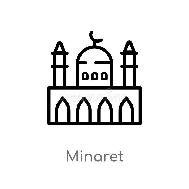 icona di vettore del minareto del profilo linea semplice nera isolata illustrazione dell'elemento dal concetto delle costruzioni  royalty illustrazione gratis