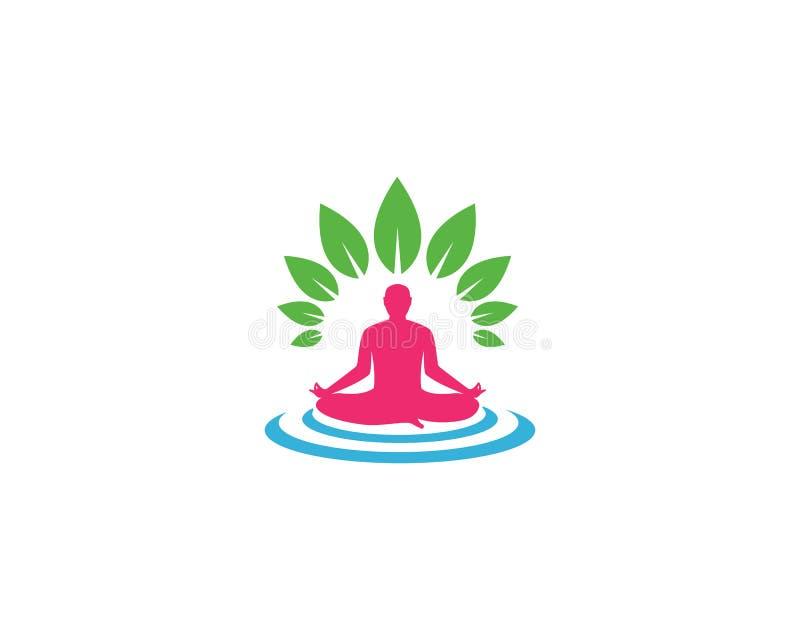 Icona di vettore del modello di logo di yoga di meditazione illustrazione vettoriale
