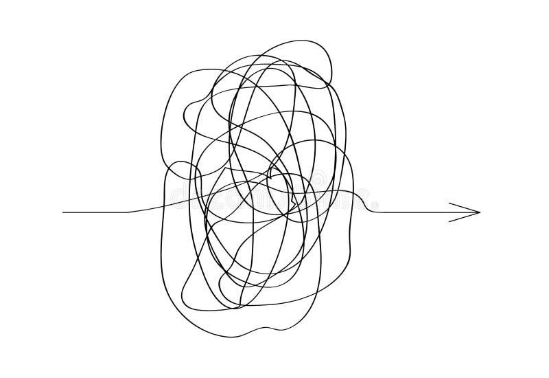 Icona di vettore del modo complicato con l'elemento rotondo scribacchiato, segno di caos illustrazione vettoriale