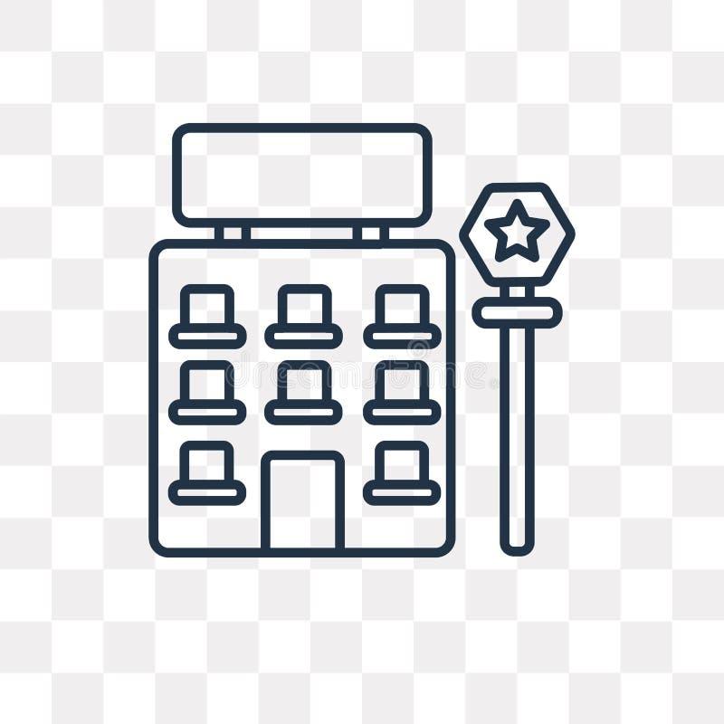 Icona di vettore del motel isolata su fondo trasparente, Mot lineare illustrazione di stock