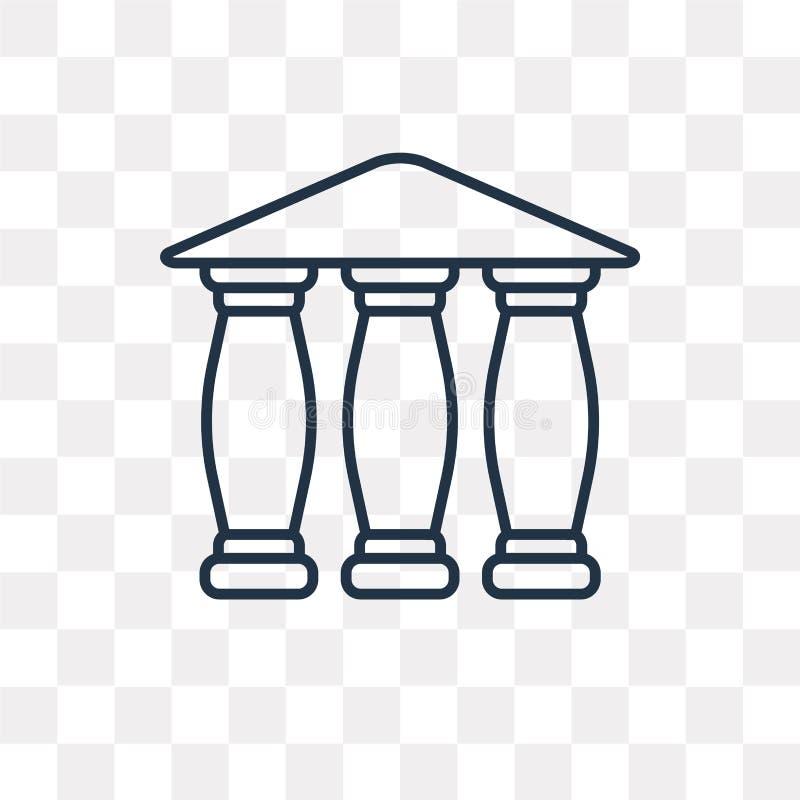 Icona di vettore del Partenone isolata su fondo trasparente, lineare illustrazione vettoriale