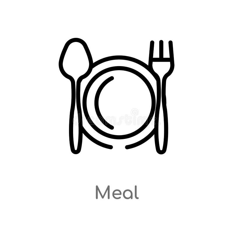 icona di vettore del pasto del profilo linea semplice nera isolata illustrazione dell'elemento dal concetto dell'hotel icona edit illustrazione vettoriale