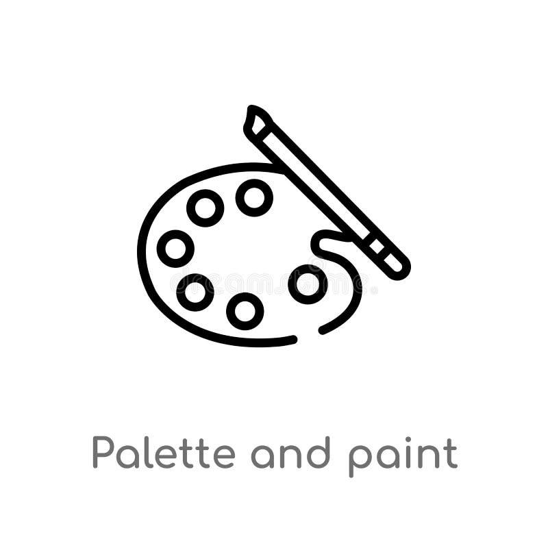 icona di vettore del pennello della tavolozza e del profilo linea semplice nera isolata illustrazione dell'elemento dal concetto  royalty illustrazione gratis
