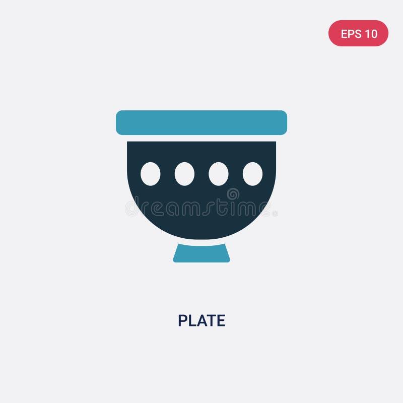 Icona di vettore del piatto di due colori dal concetto di et? della pietra il simbolo blu isolato del segno di vettore del piatto illustrazione di stock