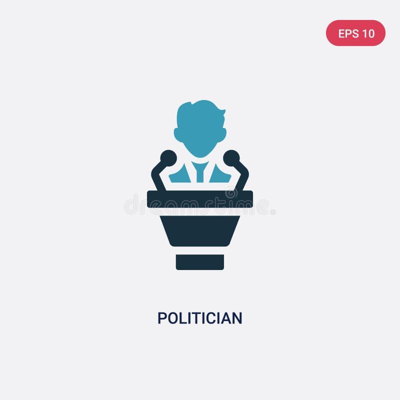 Icona di vettore del politico di due colori dal concetto di professioni il simbolo blu isolato del segno di vettore del politico  royalty illustrazione gratis