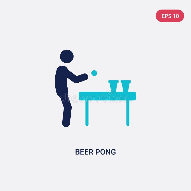 icona di vettore del pong della birra di due colori dal concetto di attività il simbolo blu isolato del segno di vettore del pong royalty illustrazione gratis