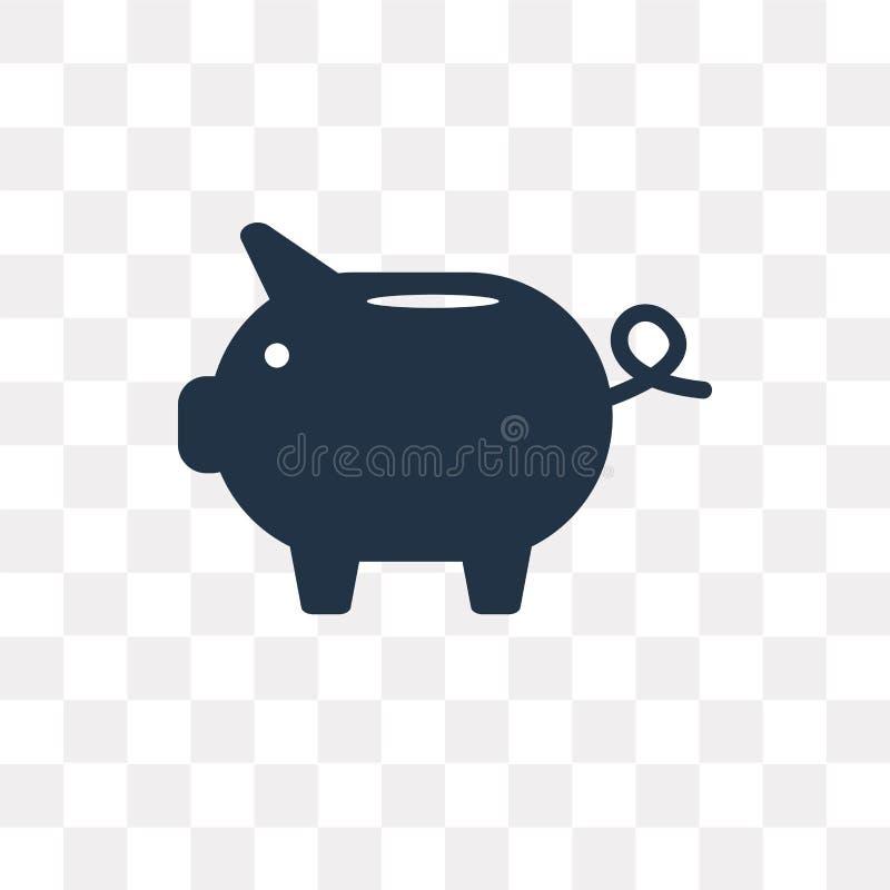 Icona di vettore del porcellino salvadanaio isolata su fondo trasparente, porcellino illustrazione di stock