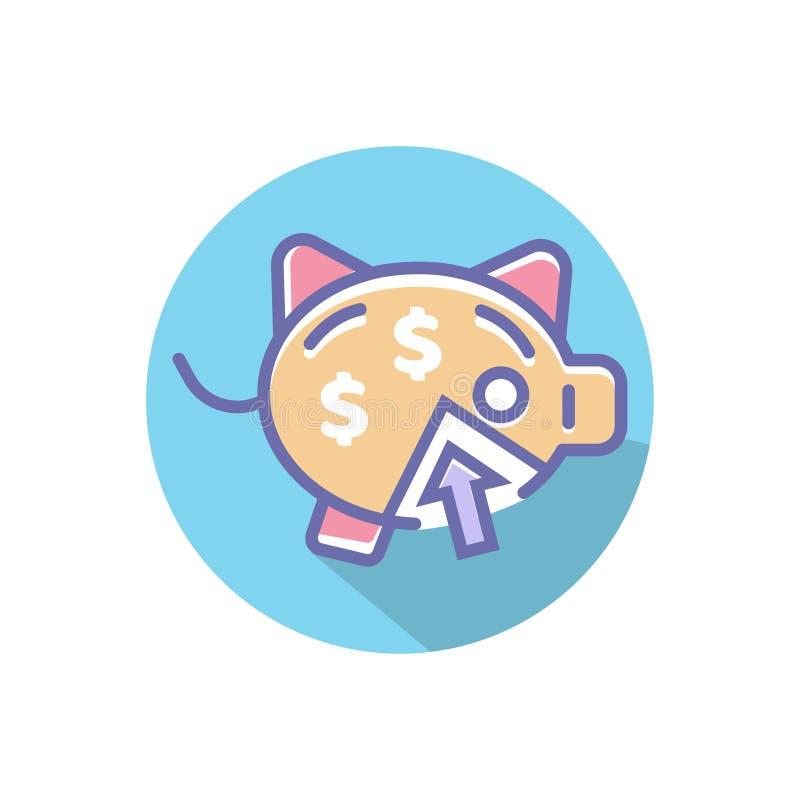 Icona di vettore del porcellino salvadanaio o di reddito contare il sito Web perfetto del porcellino salvadanaio o vettore mobile illustrazione vettoriale