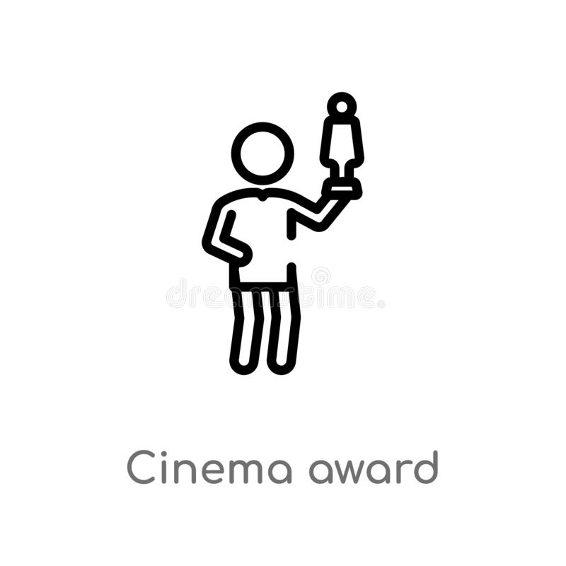 icona di vettore del premio del cinema del profilo linea semplice nera isolata illustrazione dell'elemento dal concetto della gen illustrazione vettoriale