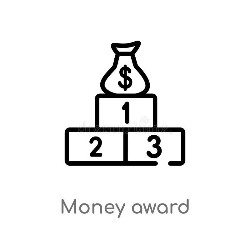 icona di vettore del premio dei soldi del profilo linea semplice nera isolata illustrazione dell'elemento dal concetto di gioco s illustrazione di stock