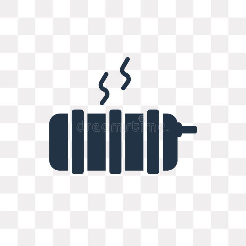 Icona di vettore del radiatore isolata su fondo trasparente, radiatore t royalty illustrazione gratis
