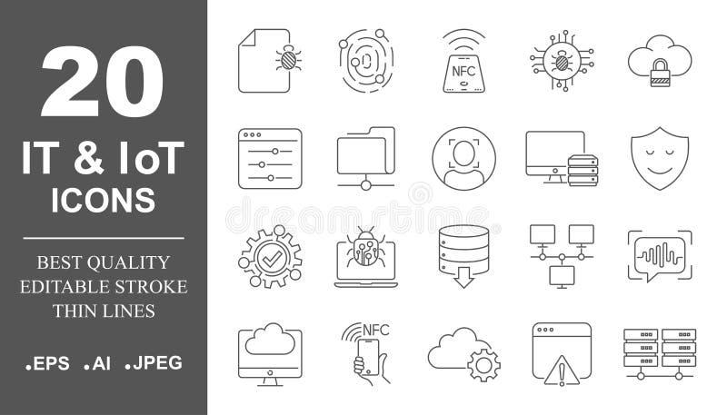 Icona di vettore del sistema operativo messa nella linea stile sottile Icone di IoT e dell'IT, protezione, reti Colpo editabile E illustrazione di stock