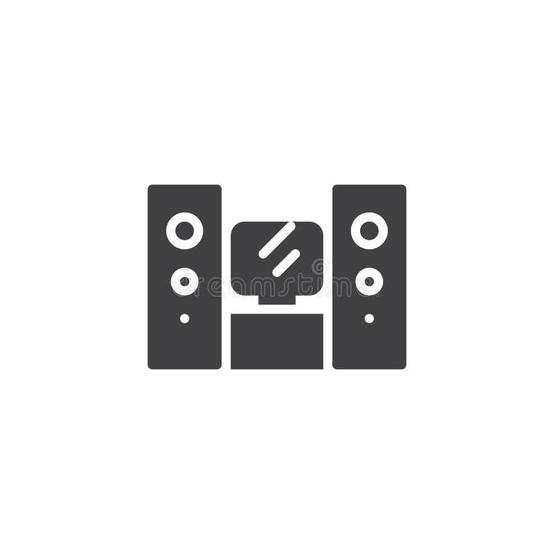 Icona di vettore del sistema del teatro domestico illustrazione di stock