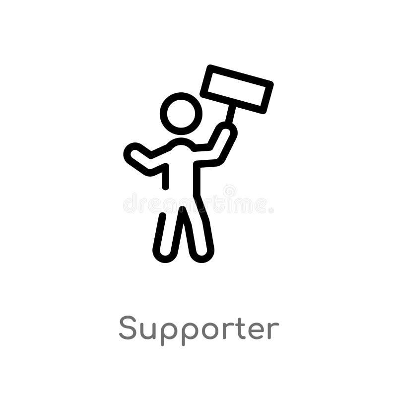 icona di vettore del sostenitore del profilo linea semplice nera isolata illustrazione dell'elemento dal concetto politico Colpo  illustrazione di stock