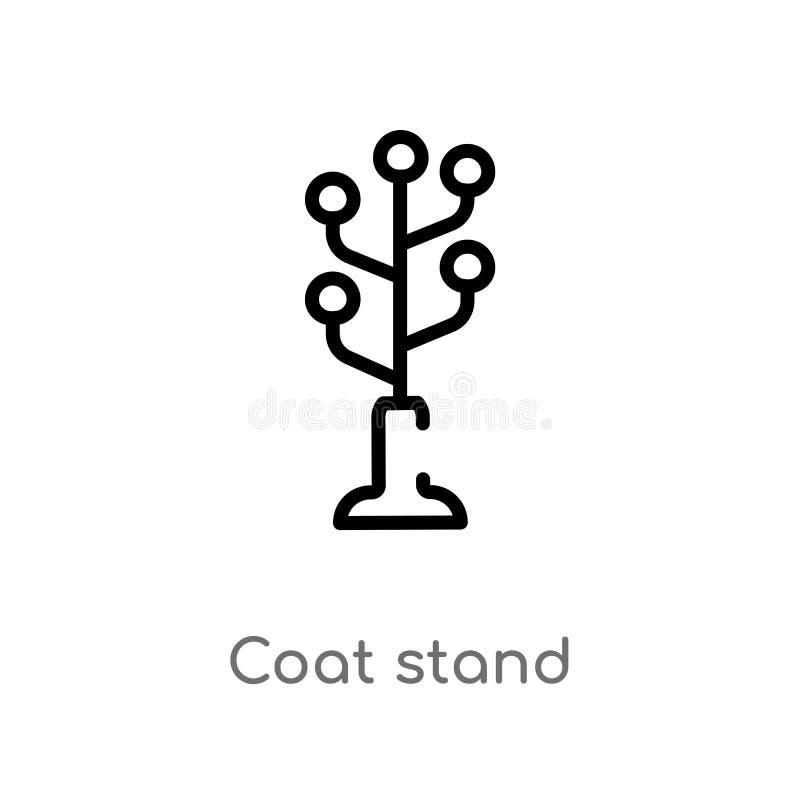 icona di vettore del supporto del cappotto del profilo linea semplice nera isolata illustrazione dell'elemento dal concetto della royalty illustrazione gratis