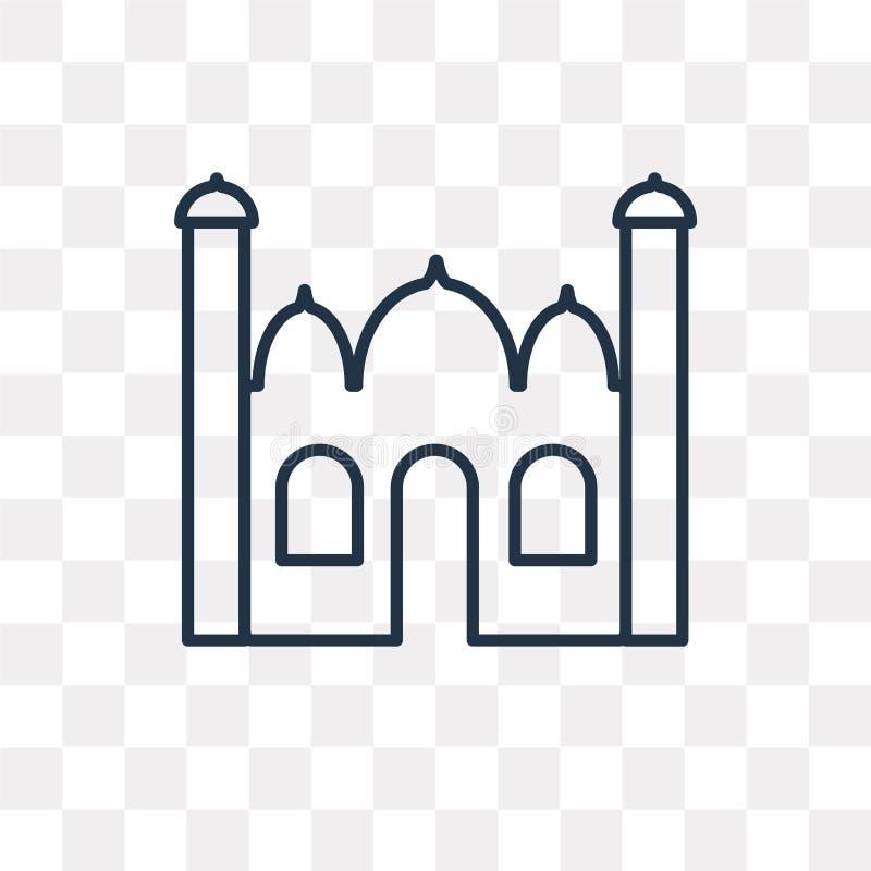 Icona di vettore del Taj Mahal isolata su fondo trasparente, lineare royalty illustrazione gratis