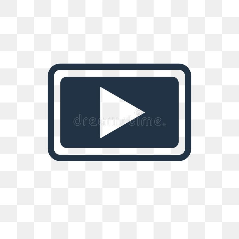 Icona di vettore del tasto di riproduzione isolata su fondo trasparente, gioco illustrazione di stock