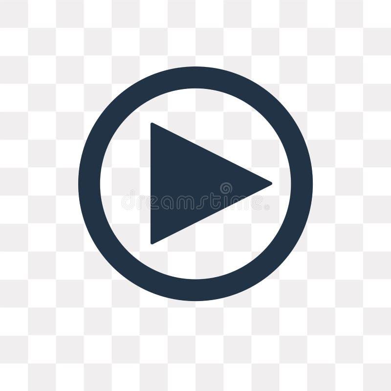 Icona di vettore del tasto di riproduzione del videoproiettore isolata sul BAC trasparente illustrazione vettoriale
