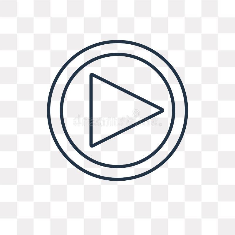 Icona di vettore del tasto di riproduzione del videoproiettore isolata sul BAC trasparente royalty illustrazione gratis