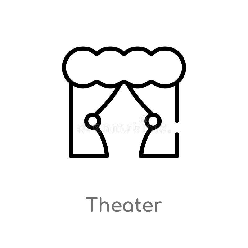 icona di vettore del teatro del profilo linea semplice nera isolata illustrazione dell'elemento dal concetto di istruzione e di g royalty illustrazione gratis