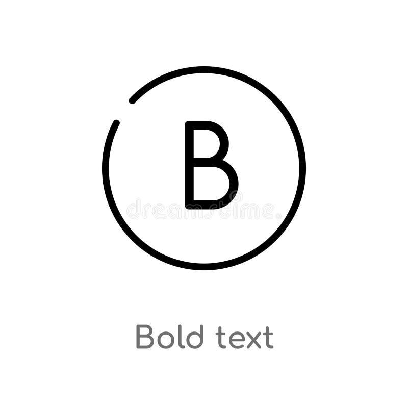 icona di vettore del testo in grassetto del profilo linea semplice nera isolata illustrazione dell'elemento dal concetto dell'int illustrazione vettoriale
